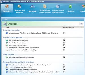 Small Business Server (SBS) 2011 Konsole mit Assitenten die unbedingt ausgeführt werden sollen